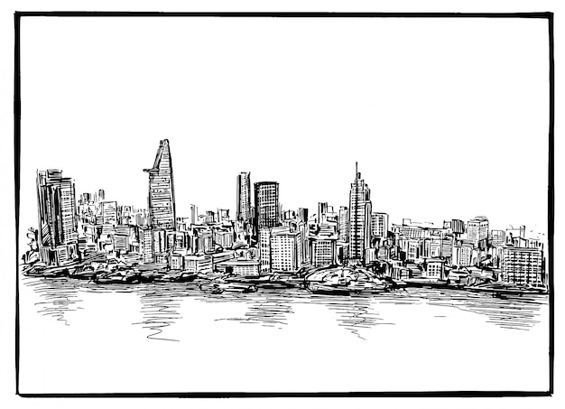 Disegno dello skyline della città di ho chi minh in vietnam