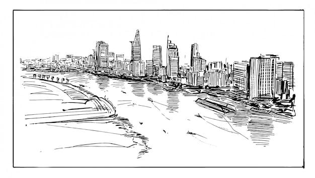 Disegno del paesaggio urbano di ho chi minh in riva al fiume in vietnam