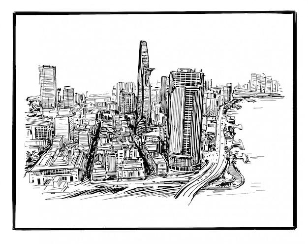 Disegno del paesaggio urbano di ho chi minh in vietnam