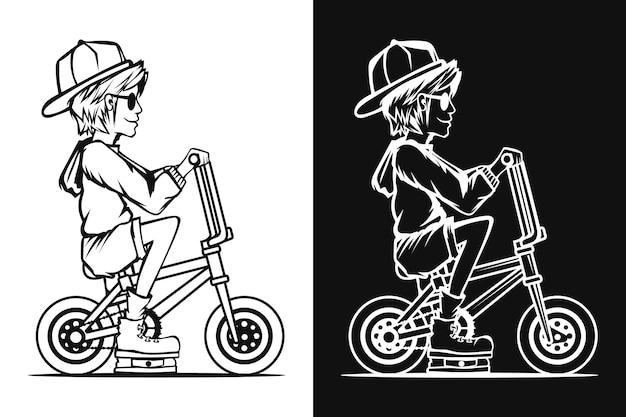 Disegno di uomo in bicicletta in bianco e nero per libro da colorare