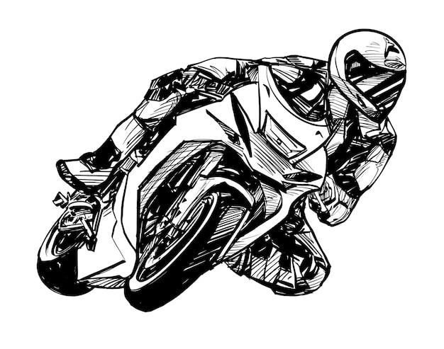 Disegno del tiraggio della mano della competizione motociclistica
