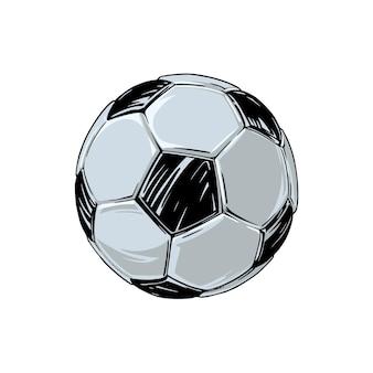 Disegno di un vecchio pallone da calcio in pelle. isolato su bianco per la stampa di souvenir e pubblicità. illustrazione vettoriale.