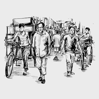 Disegno delle persone che camminano sulla strada in india
