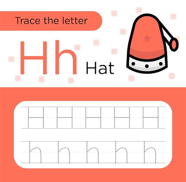 Disegno di un foglio di lavoro per i bambini. tracing letter h. carta pratica prescolare.