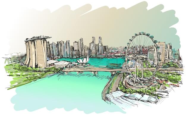 Il disegno dell'orizzonte di singapore mostra il tiraggio della mano dell'edificio