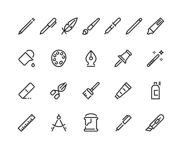 Icone della linea degli strumenti di disegno. pittogrammi minimi del tratto del pallet del secchio della spazzola della penna della matita, simboli dell'interfaccia web di scrittura e arte. pittogramma di sigillo piatto set vettoriale
