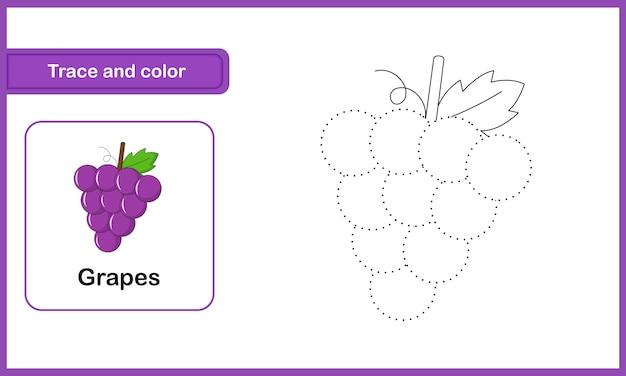 Foglio di disegno e di vocabolario, traccia e colore: uva