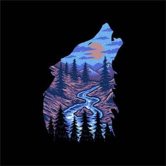 Disegno del paesaggio della foresta di lupi, stile linea disegnata a mano con colore digitale
