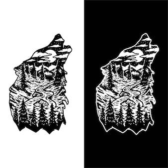 Disegno del paesaggio della foresta di lupo, isolato su sfondo scuro e luminoso