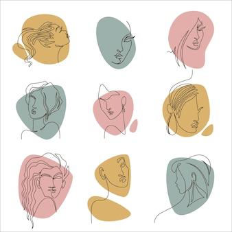 Disegni di ritratti di donne, icone isolate di personaggi femminili, ragazze eleganti