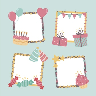 Raccolta di cornici di collage di compleanno disegnate