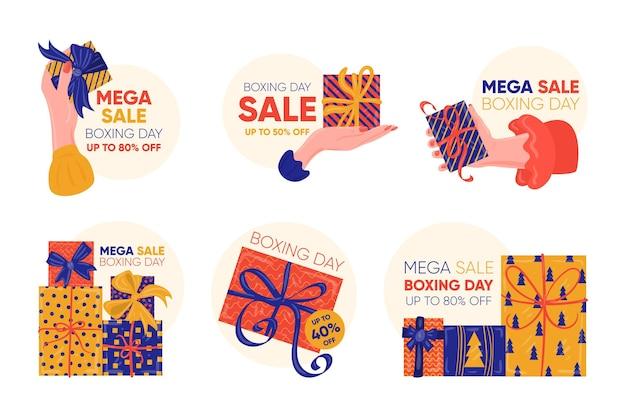Etichette di vendita di giorno di boxe disegnate