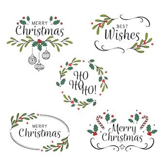 Pacchetto di badge natalizi disegnati