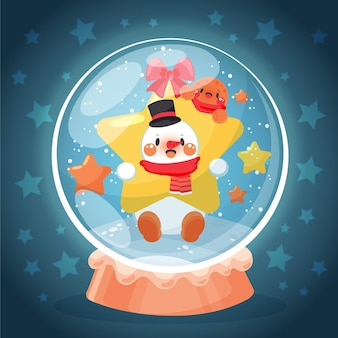 Globo di palla di neve di natale disegnato con pupazzo di neve