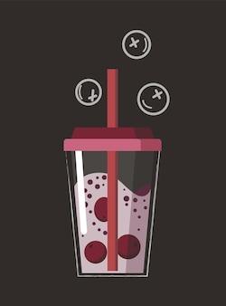Bevanda disegnata. bevanda frullato di frutta estiva al gusto di frutta. cocktail alcolico con una cannuccia. frullato di doodle in un barattolo.