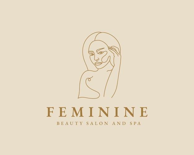 E disegnata donna femminile bellezza viso minimale e logo botanico floreale modello trucco spa salon