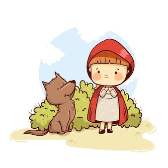Illustrazione di racconto di cappuccetto rosso disegnato