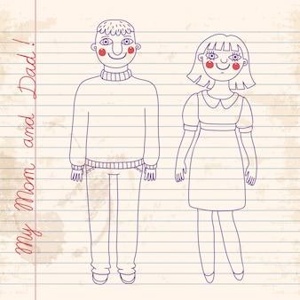 Disegnato in un quaderno mamma e papà.