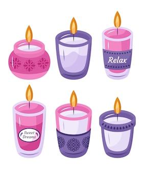 Collezione di candele profumate disegnate