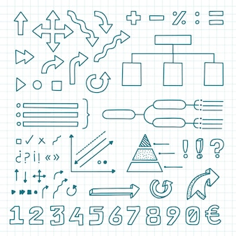 Raccolta di elementi infographic di scuola disegnata