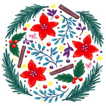 Un insieme disegnato di elementi natalizi