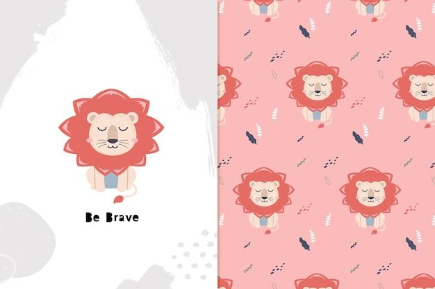 Dream big lion e seamless pattern