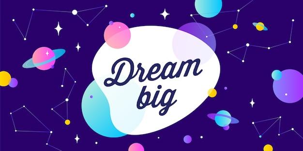 Sogna in grande. banner di motivazione, fumetto.
