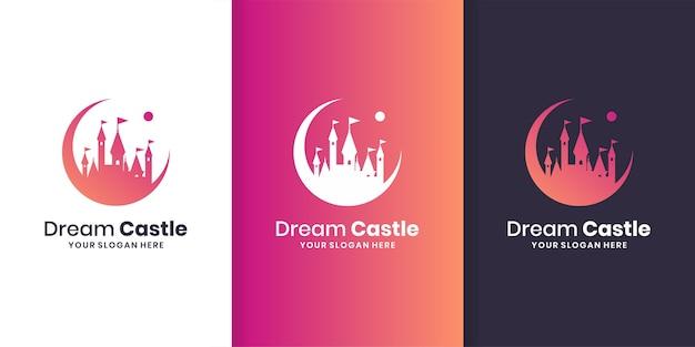 Modello di logo del castello dei sogni con stile moderno sfumato