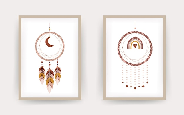 Acchiappasogni con arcobaleno e luna in stile boho.
