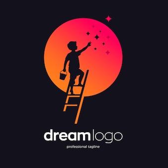 Modello di progettazione del logo del collezionista di sogni