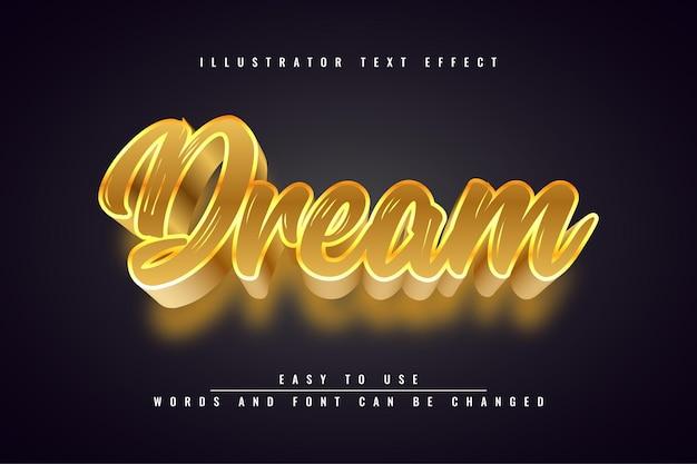 Sogno: disegno del modello di illustrazione di effetto testo modificabile luce oro