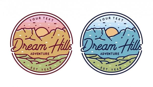 Distintivo di logo monoline di avventura collina montagna avventura