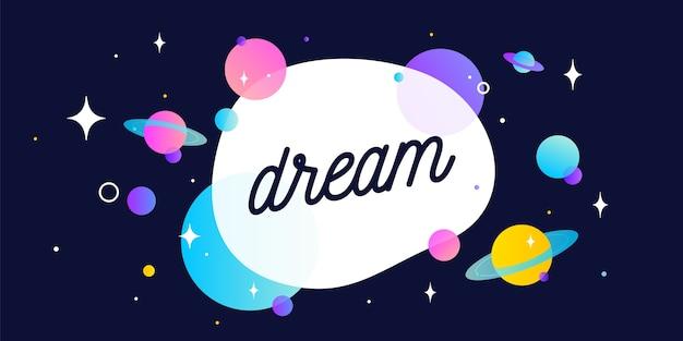 Sognare. banner di motivazione, fumetto