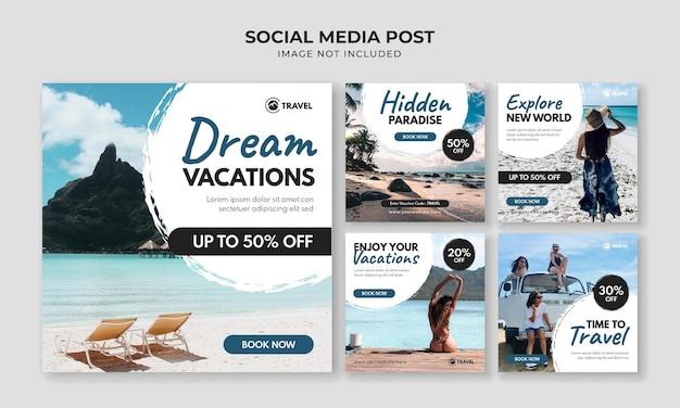 Modello di post instagram social media vacanza da sogno