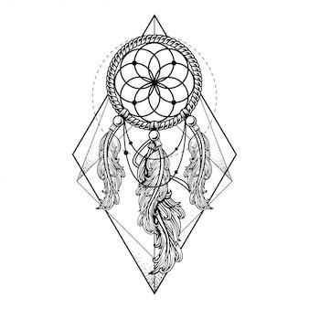 Disegno geometrico di illustrazione, tatuaggio e maglietta di dreamcatcher