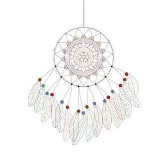Cacciatore di sogni. stile lineare. design bohémien. piume multicolori. accessorio di moda. illustrazione vettoriale.