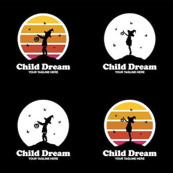 Set di design del logo per bambini sognatore