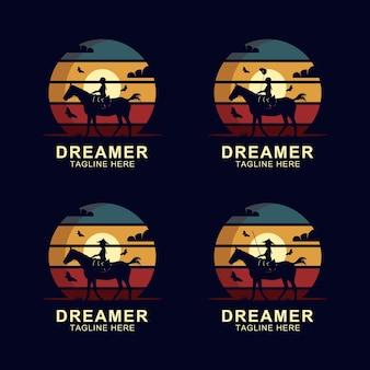 Sognatore a cavallo logo design vector