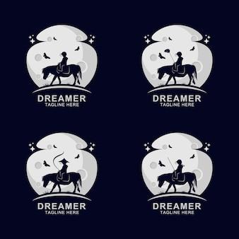 Sognatore che cavalca il logo del cavallo sulla luna