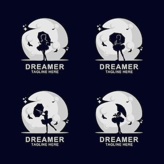Logo silhouette sognatore sulla luna