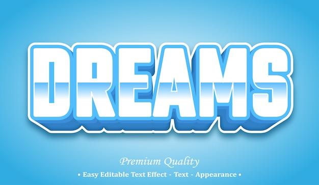 Sogni effetto di stile di testo modificabile 3d