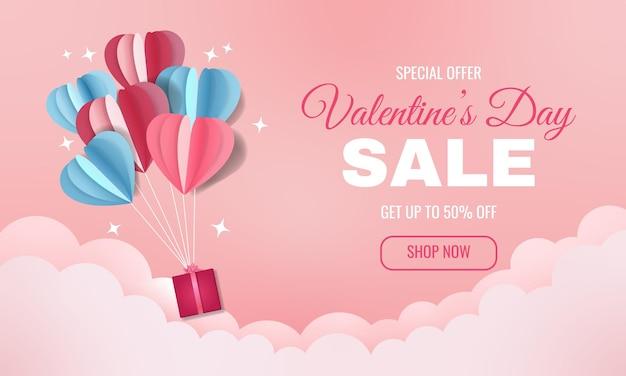 Vendita promozionale di san valentino concetto sognante per banner sito web