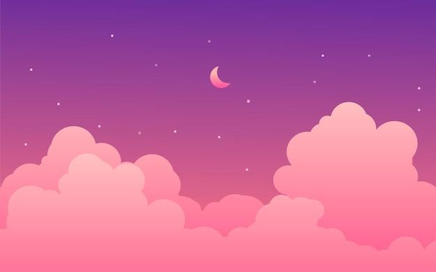 Illustrazione sognante del cielo notturno con la luna, le stelle e le nuvole
