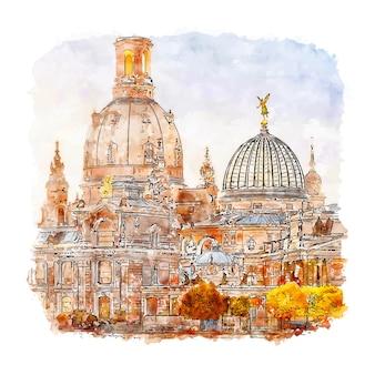 Illustrazione disegnata a mano di abbozzo dell'acquerello di dresda germania