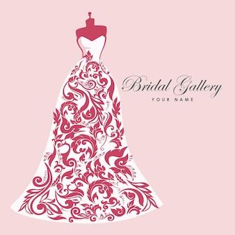 Abito boutique matrimonio sposa logo modello illustrazione disegno vettoriale