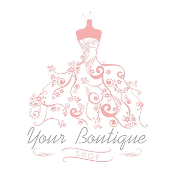 Abito boutique matrimonio sposa logo modello illustrazione disegno floreale vettoriale