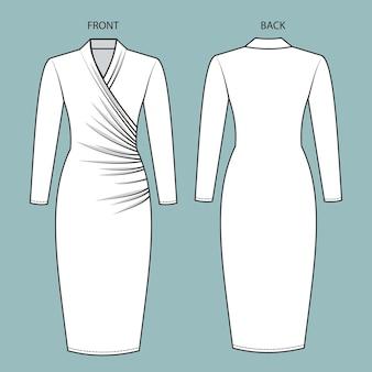 Vestito vista anteriore e posteriore. modello di schizzo piatto moda vestito.