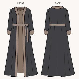 Vestito vista anteriore e posteriore. modello piatto di moda vestito.
