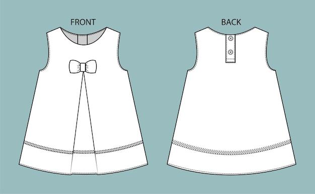 Vestito per bambini vestito da ragazza vista anteriore e posteriore isolato