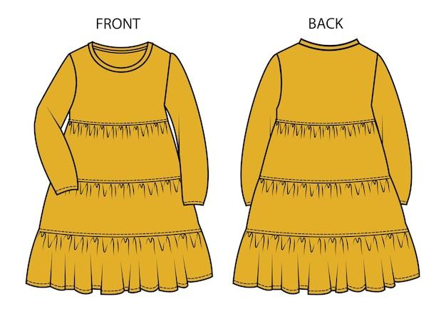 Vestito per bambini vista anteriore e posteriore.